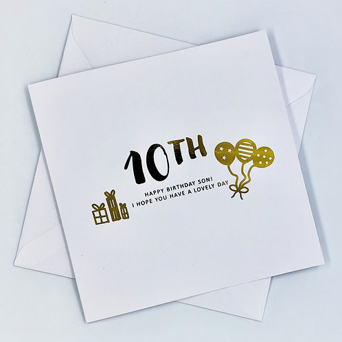 Personalised Son Happy Birthday Present Gold Foil Card