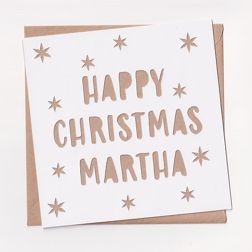 Personalised Papercut Star Christmas Card