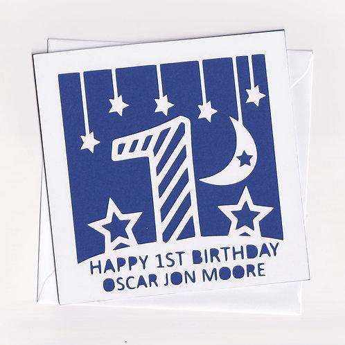 Personalised Papercut Stripe Birthday Card