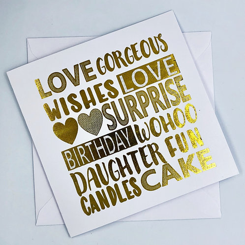 Gold Foil Daughter Birthday Card