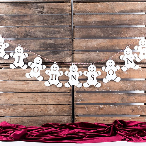 Personalised Gingerbread Papercut Christmas Bunting