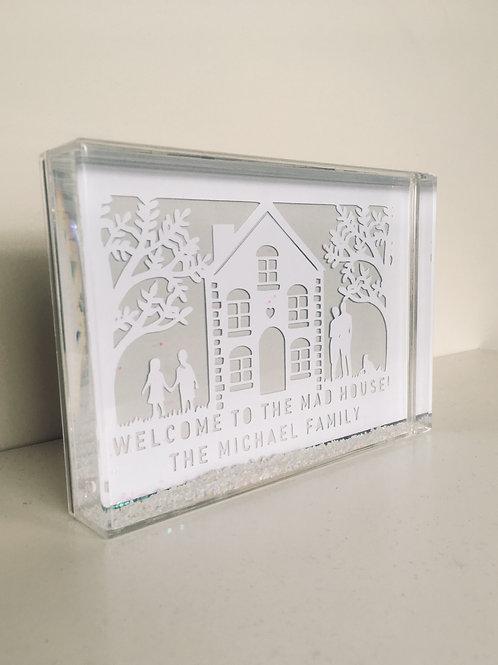 Personalised House Papercut Snow Block