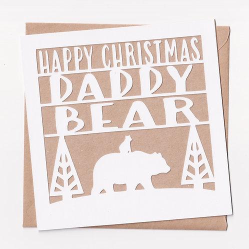 Papercut Daddy Bear Christmas Card