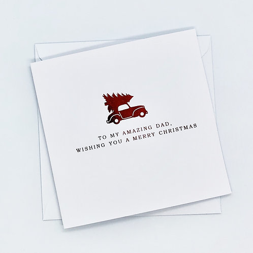 Red Foil Christmas Dad Car Card