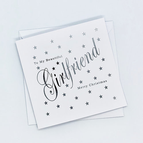 Silver Foil Christmas Girlfriend Star Card