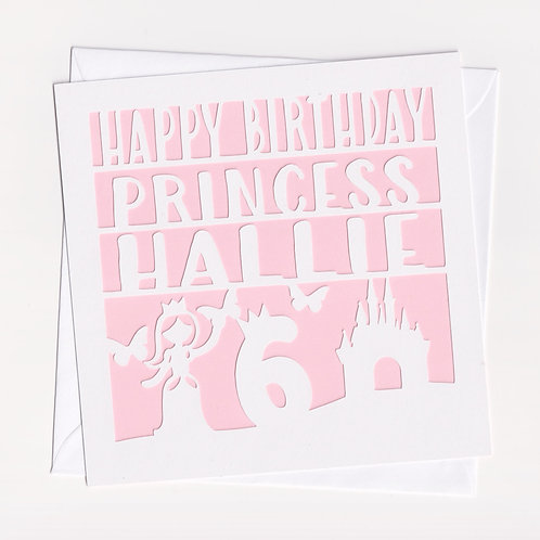 Personalised Papercut Princess Card