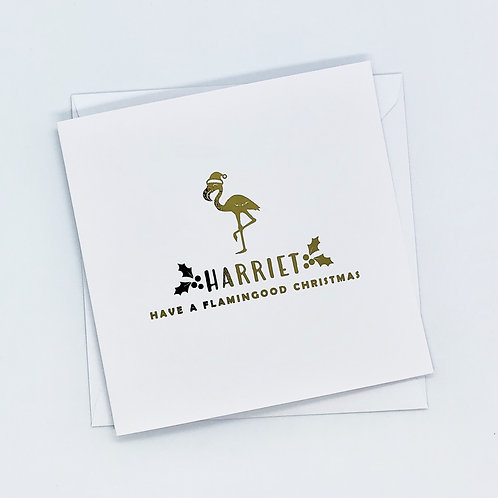 Personalised Gold Foil Christmas Flamingo Card