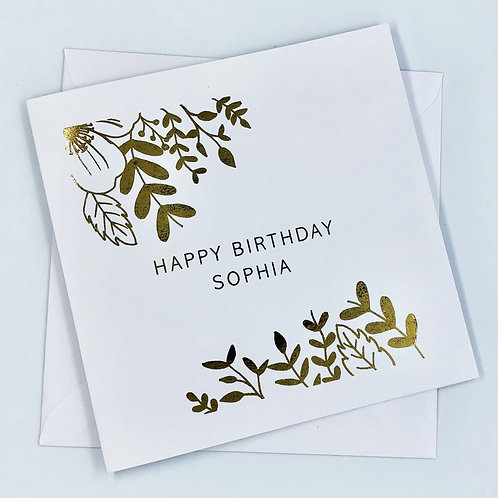 "Personalised ""Flowers Birthday"" Gold Foil Card"