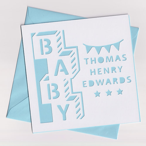 Personalised Papercut Baby Blocks Card
