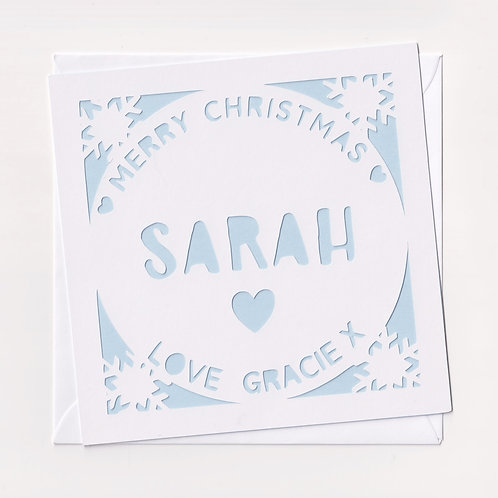 Personalised Papercut Circle Christmas Card