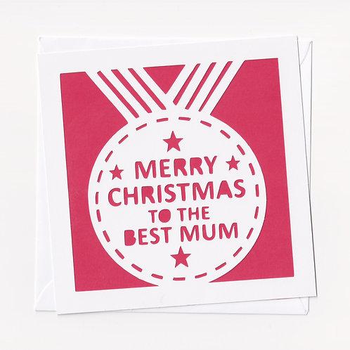"""Papercut """"Best Mum"""" Christmas Card"""