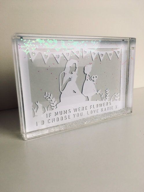 Personalised Mum Papercut Snow Block