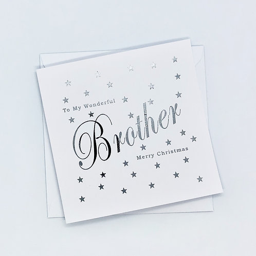Silver Foil Christmas Brother Star Card