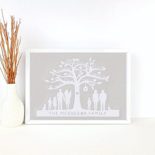 Personalised Family Tree Silhouette Papercut