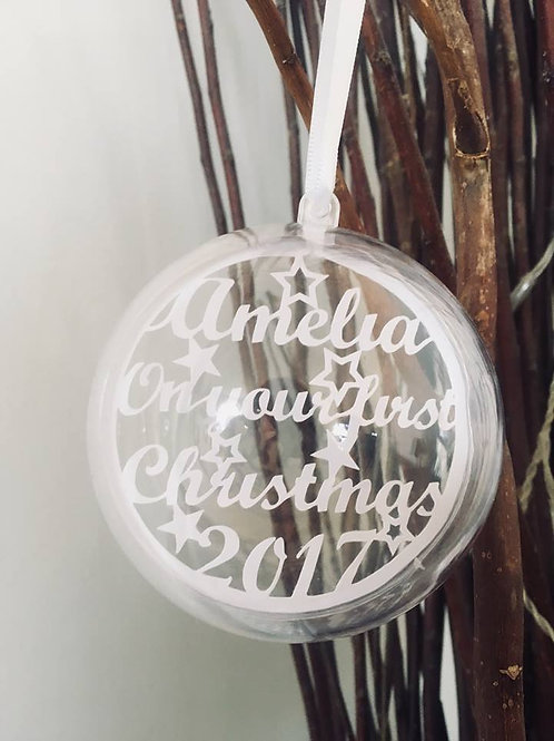 Personalised On Your First Christmas Bauble
