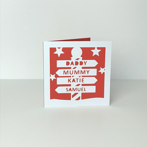 Personalised Papercut Christmas Family Sign Card