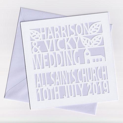 Personalised Papercut Wedding Church Card
