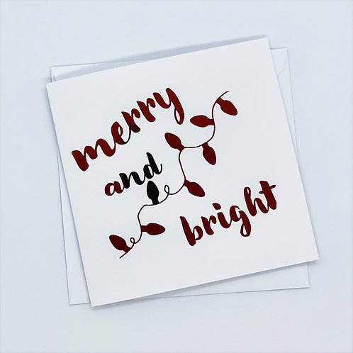 Red Foil Christmas Merry And Bright Card