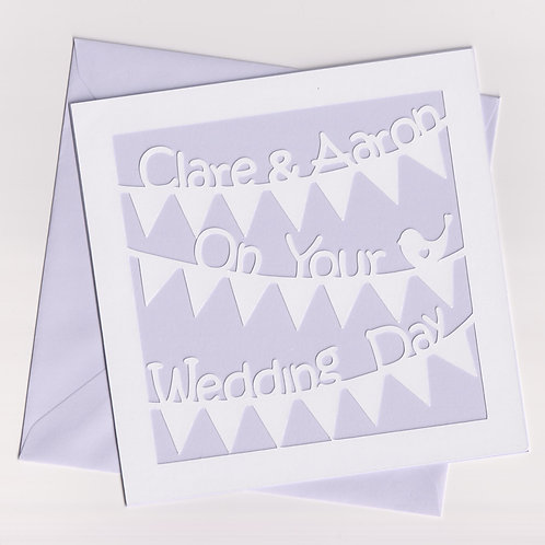 Personalised Papercut Wedding Bunting Card
