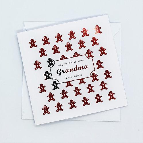 Personalised Red Foil Christmas Grandma Gingerbread Men Card
