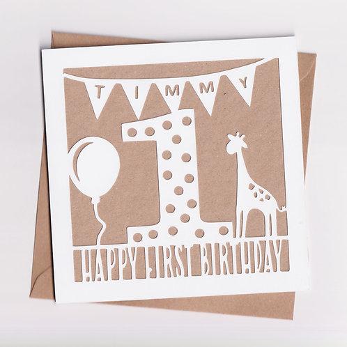 Personalised Papercut Giraffe Birthday Card