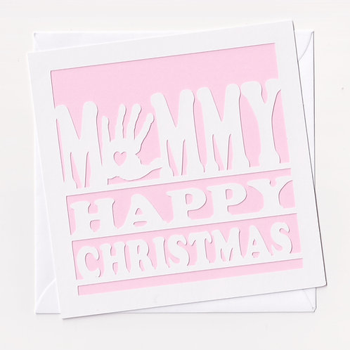 Papercut Mummy Handprint Christmas Card