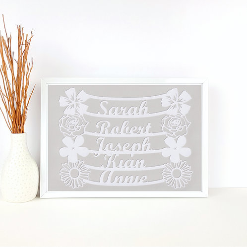 Personalised Flower Family Papercut