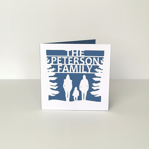 Personalised Papercut Christmas Family Silhouette Card