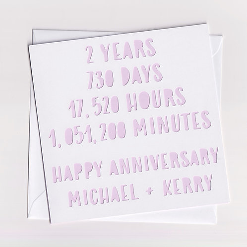 Personalised Papercut Two Year Time Anniversary Card