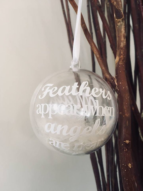 Personalised Feathers Appear Quote Bauble