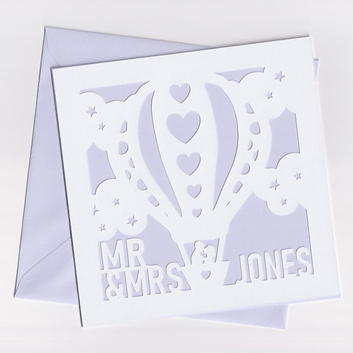 Personalised Papercut Couple Hot Air Balloon card
