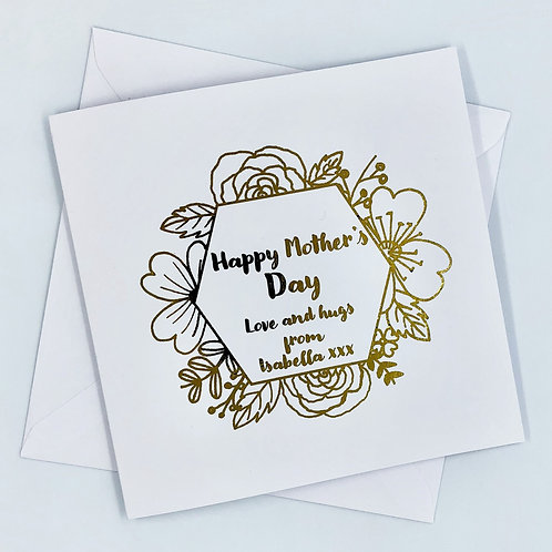 """Personalised """"Floral Mother's Day"""" Gold Foil Card"""