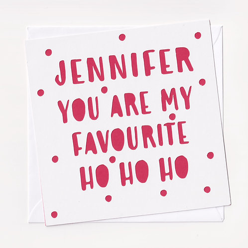 "Personalised Papercut ""Ho Ho Ho"" Christmas Card"