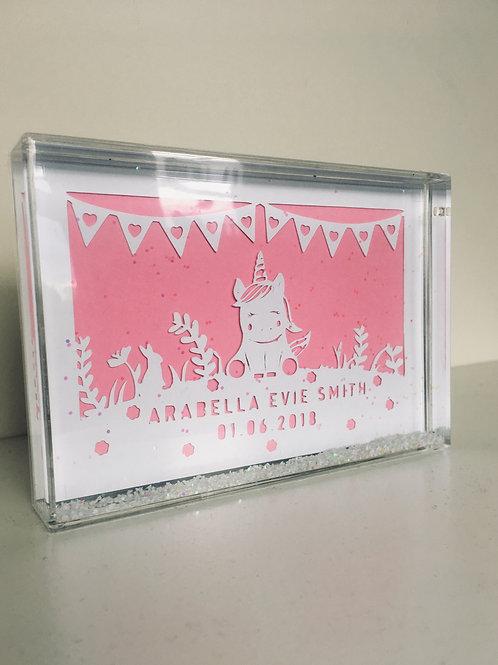 Personalised Unicorn Paper Snow Block