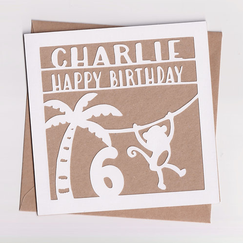 Personalised Papercut Jungle Card