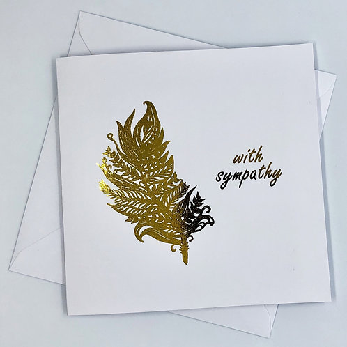 """Gold Foil Sympathy Card """"Feather With Sympathy"""""""