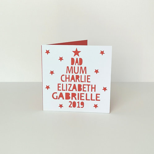 Personalised Papercut Christmas Family Tree Card