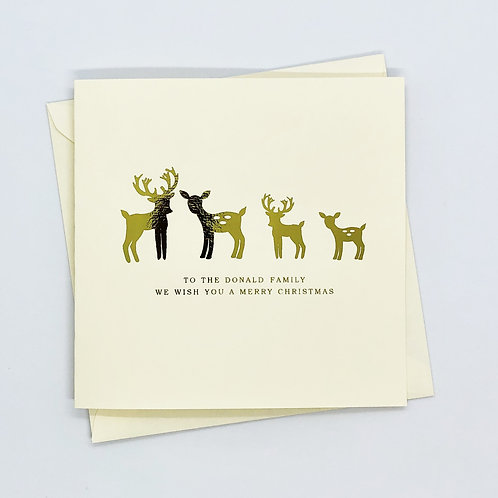 Personalised Gold Foil Christmas Family Deer Card
