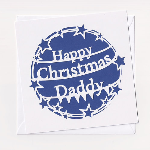 Personalised Papercut Star Daddy Christmas Card