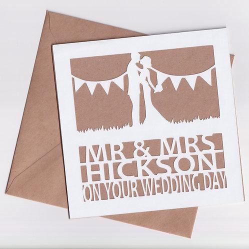 Personalised Papercut Wedding Couple Card