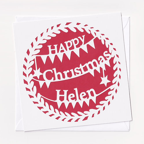 Personalised Papercut Christmas Card