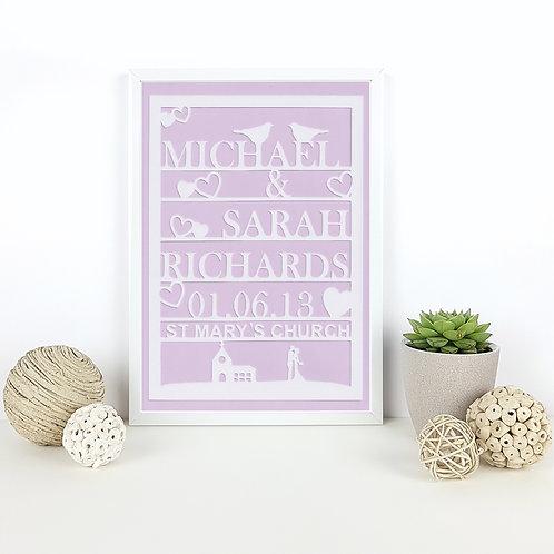 Personalised Wedding Church Papercut