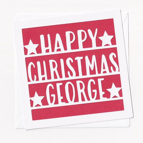 Personalised Papercut Simple Christmas Card