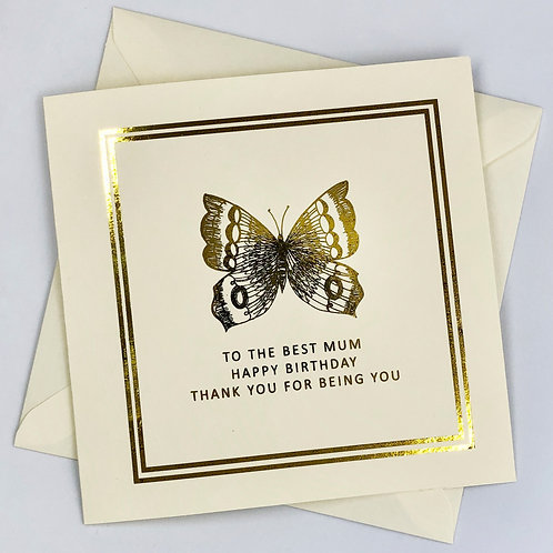 "Gold Foil Mum Birthday Card "" Butterfly """