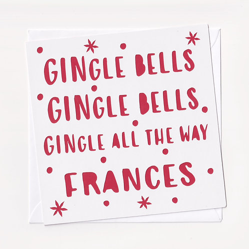 "Personalised Papercut ""Gingle Bells"" Christmas Card"