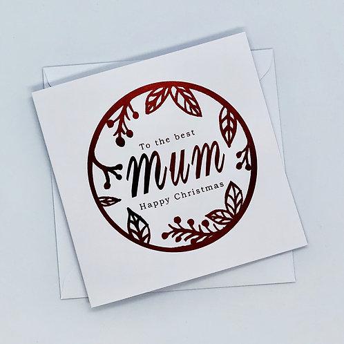 Red Foil Christmas Mum Wreath Card