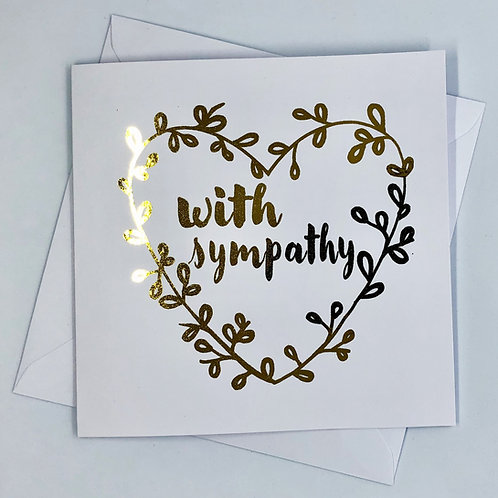 "Gold Foil Sympathy Card ""Heart Wreath Sympathy"""