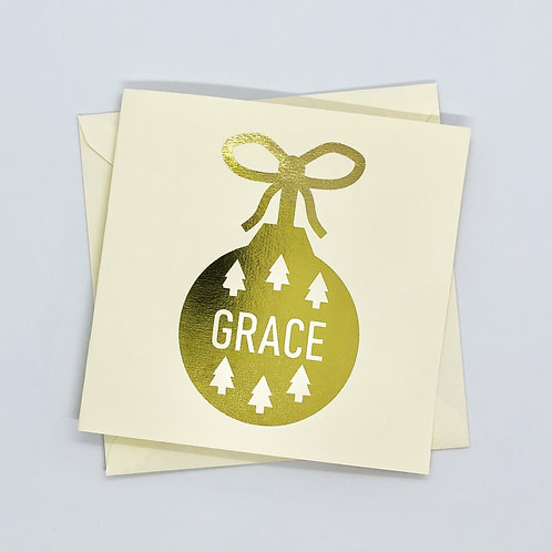 Personalised Gold Foil Christmas Bauble Card