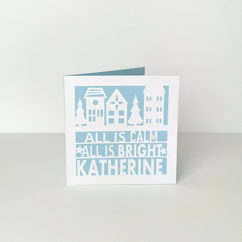 Personalised Papercut Christmas Town Card