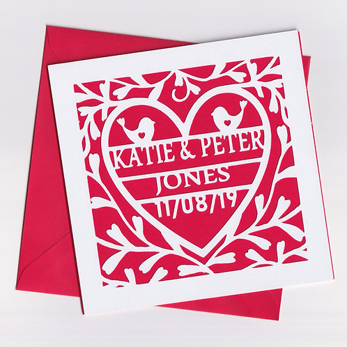 Personalised Papercut Heart Vine Wedding Card